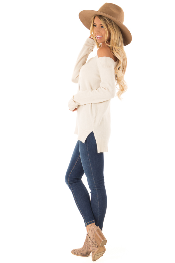 Cream Cold Shoulder Long Sleeve Top with Side Slits side full body