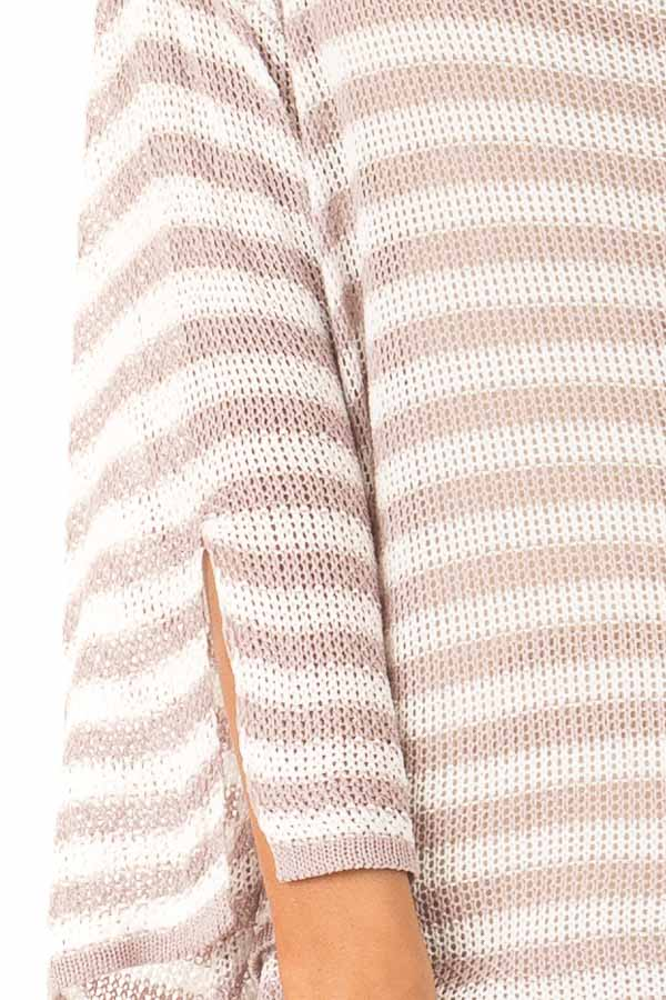 Dusty Rose and Cream Striped 3/4 Sleeve Breezy Top detail