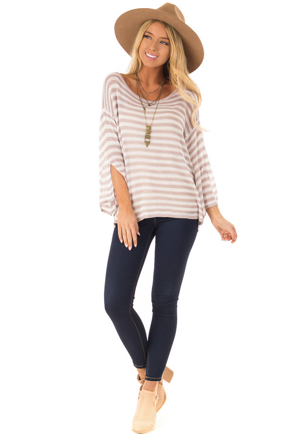 Dusty Rose and Cream Striped 3/4 Sleeve Breezy Top front full body