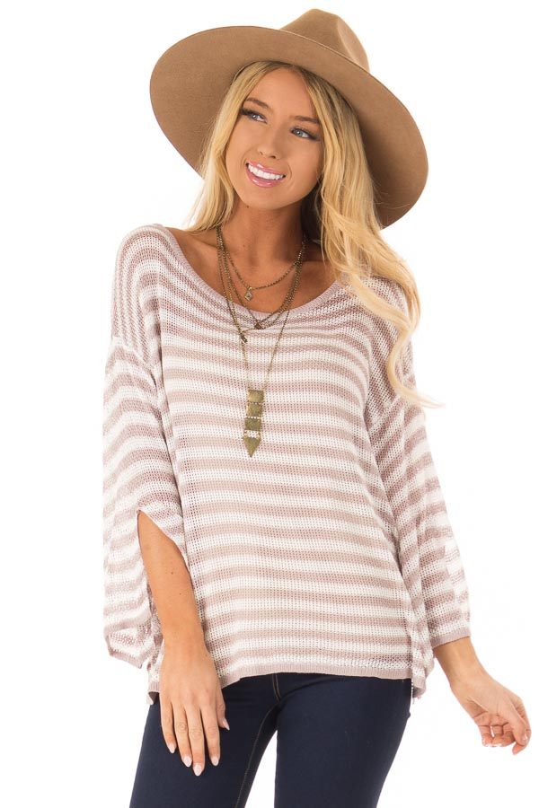 Dusty Rose and Cream Striped 3/4 Sleeve Breezy Top front close up