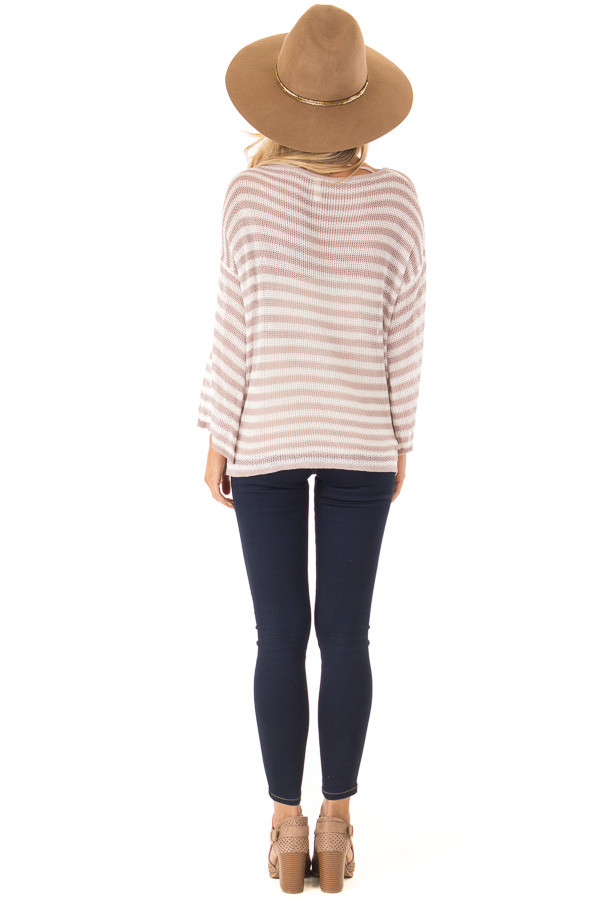 Dusty Rose and Cream Striped 3/4 Sleeve Breezy Top back full body