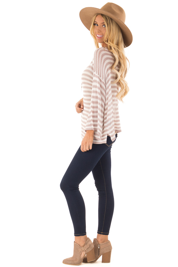 Dusty Rose and Cream Striped 3/4 Sleeve Breezy Top side full body
