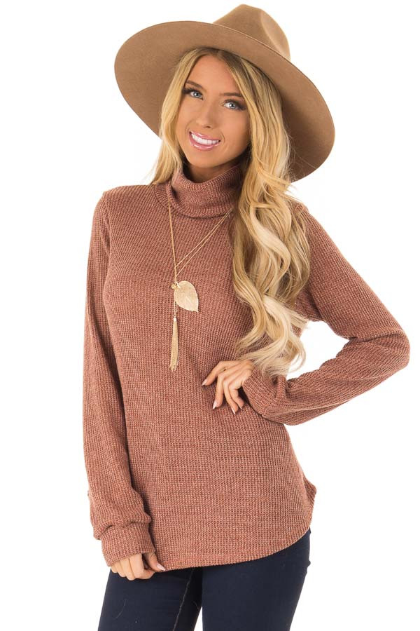 9fd418a402 Brick Long Sleeve Textured Knit Turtleneck Sweater - Lime Lush Boutique