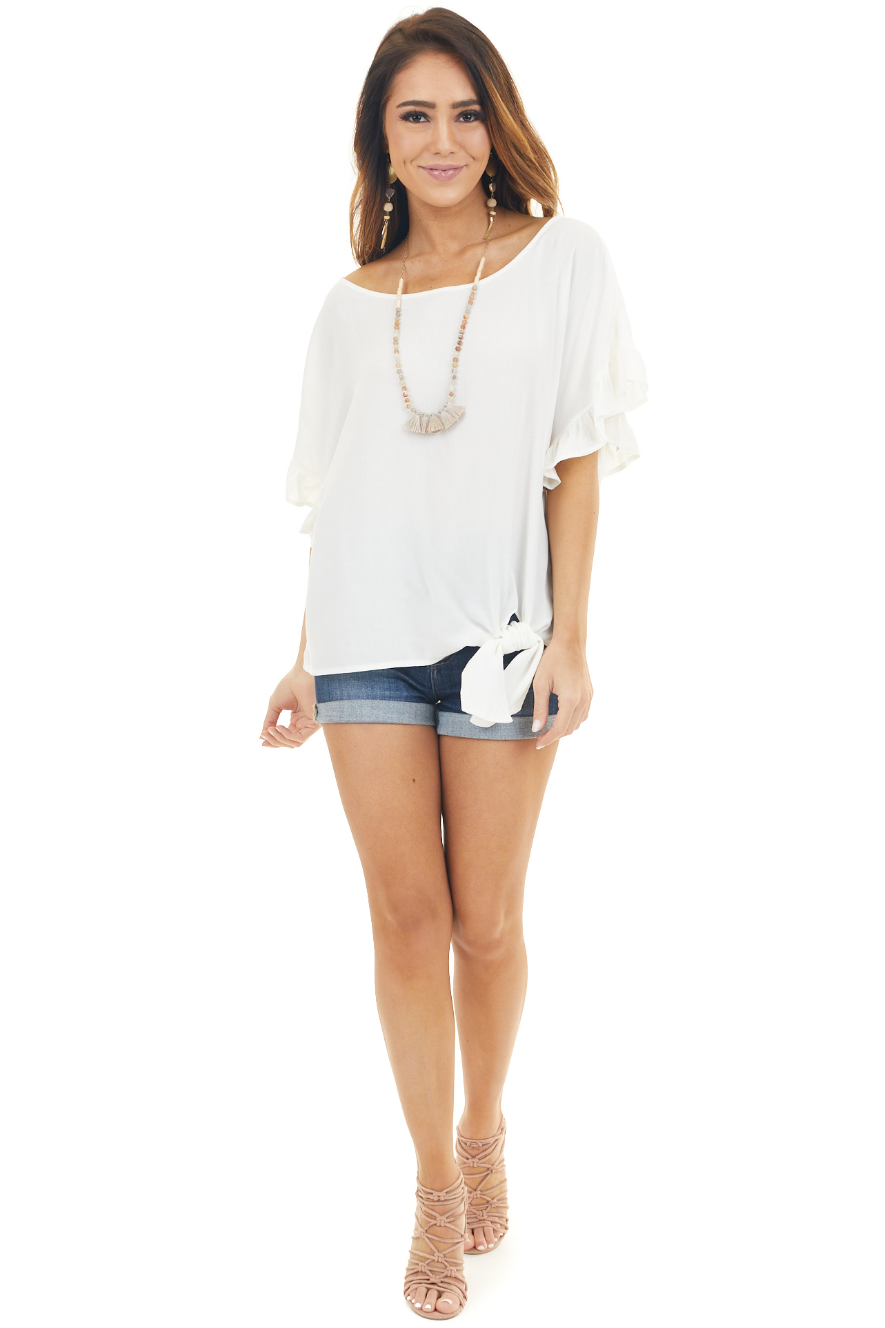 Ivory Ruffled Sleeve Blouse with Front Knot Detail