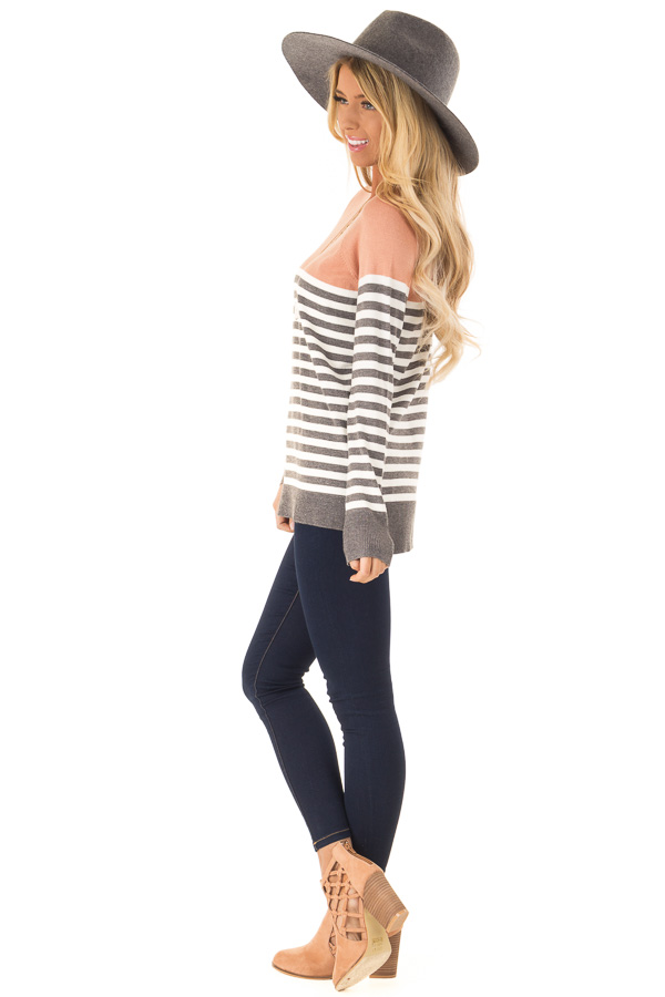 Salmon and Charcoal Grey Striped Color Block Sweater side full body