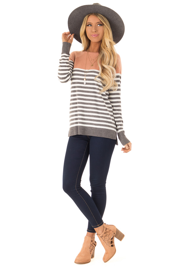 Salmon and Charcoal Grey Striped Color Block Sweater front full body