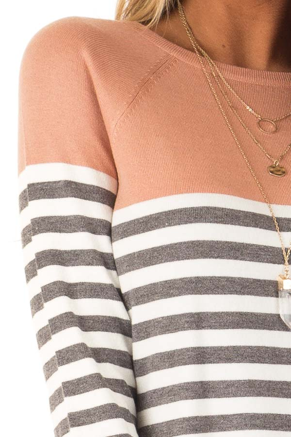 Salmon and Charcoal Grey Striped Color Block Sweater detail