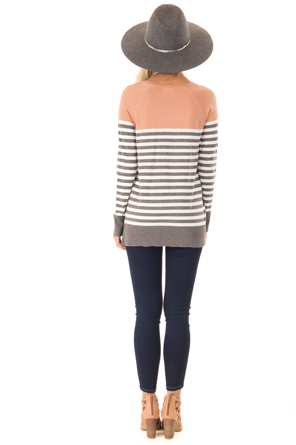 Salmon and Charcoal Grey Striped Color Block Sweater back full body