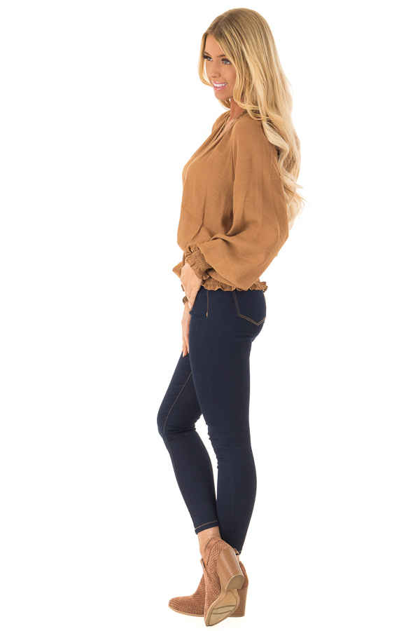 Caramel V Neck Blouse with Bishop Sleeves and Smocked Detail side full body