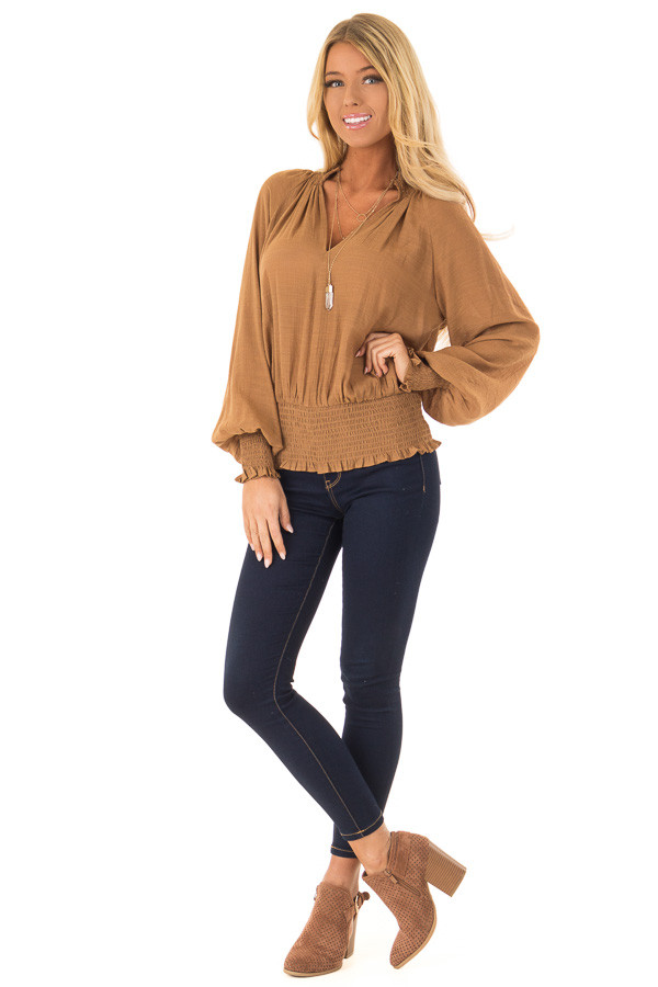 Caramel V Neck Blouse with Bishop Sleeves and Smocked Detail front full body