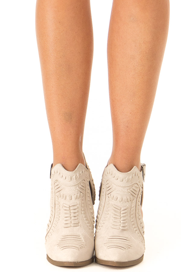 Cream Heeled Bootie with Western Buckle and Stitched Detail front view