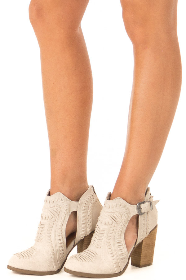 Cream Heeled Bootie with Western Buckle and Stitched Detail front side view