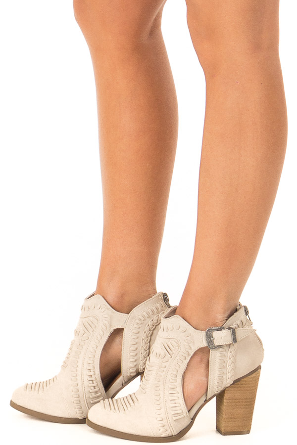 Cream Heeled Bootie with Western Buckle and Stitched Detail side view