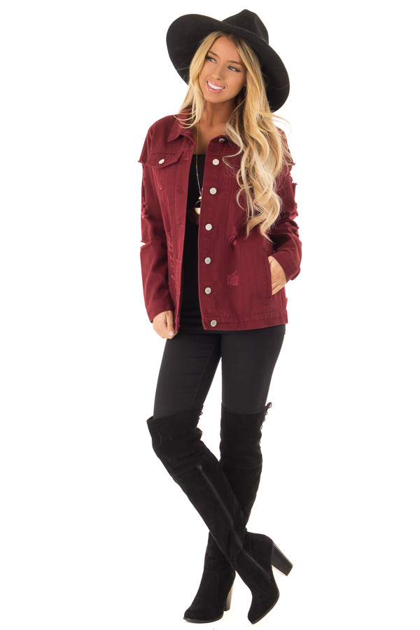 Wine Washed Distressed Denim Button Up Jacket with Pockets back full body