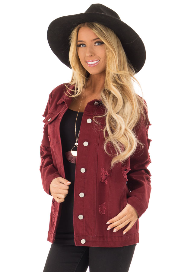 Wine Washed Distressed Denim Button Up Jacket with Pockets back close up