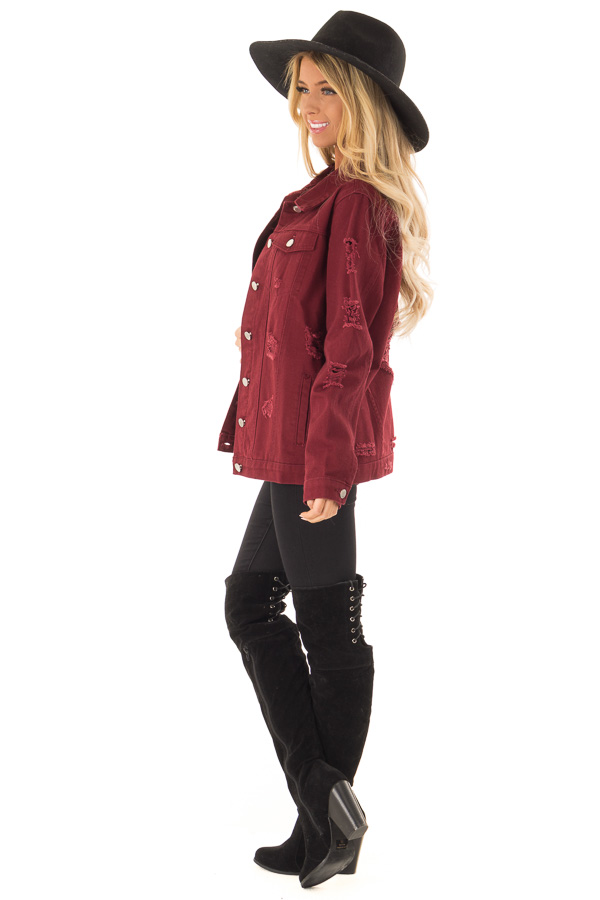 Wine Washed Distressed Denim Button Up Jacket with Pockets side full body