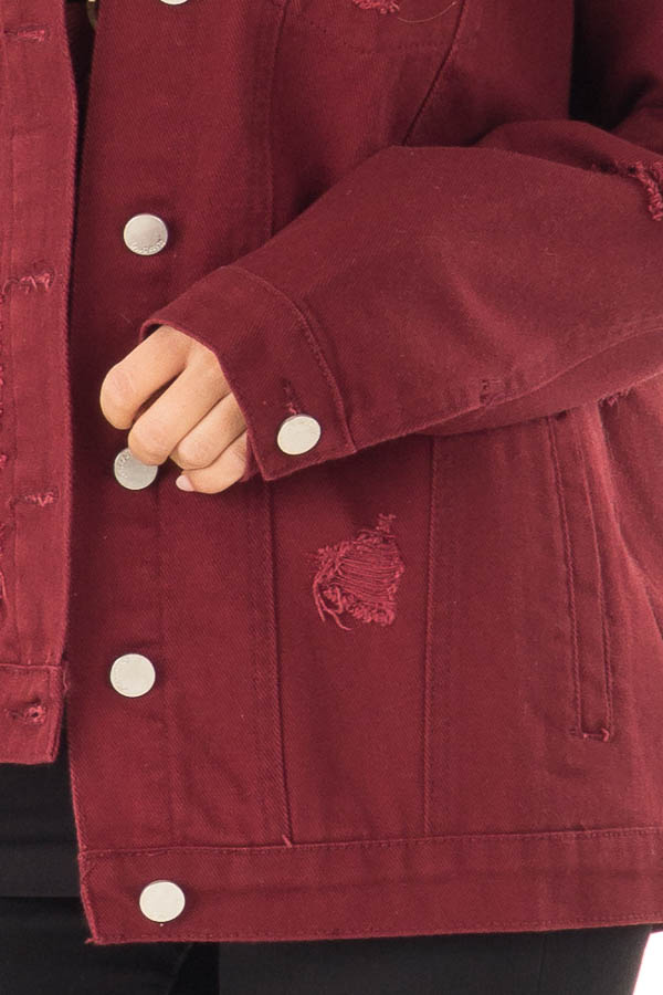 Wine Washed Distressed Denim Button Up Jacket with Pockets detail