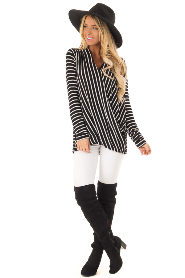 Black and Ivory Striped Wrap Style Top with Long Sleeves front full body