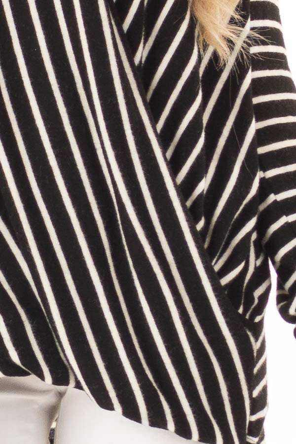 Black and Ivory Striped Wrap Style Top with Long Sleeves detail