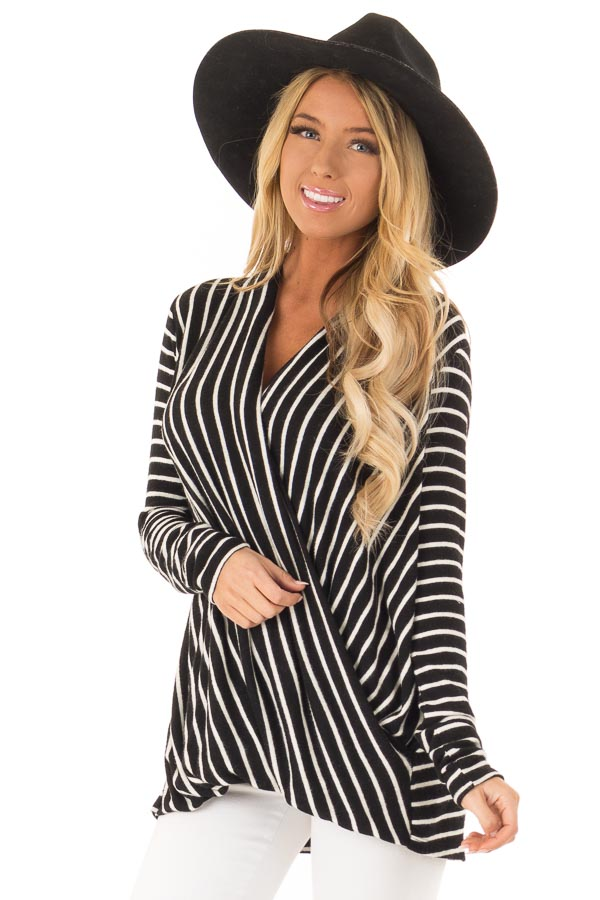 Black and Ivory Striped Wrap Style Top with Long Sleeves front close up