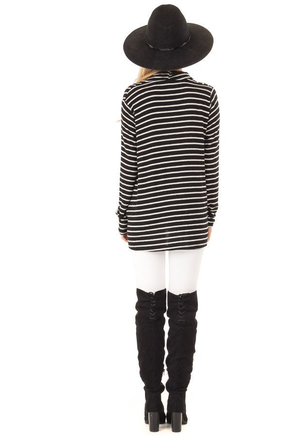 Black and Ivory Striped Wrap Style Top with Long Sleeves back full body