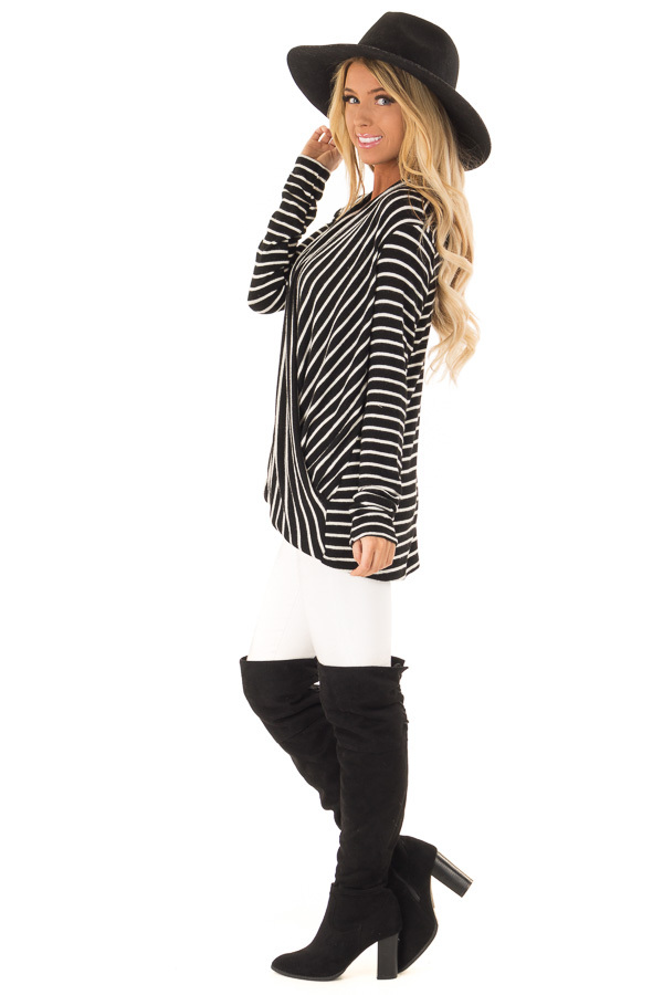 Black and Ivory Striped Wrap Style Top with Long Sleeves side full body