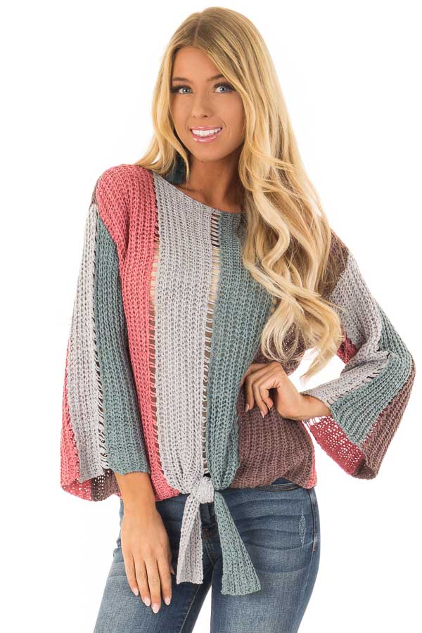 Multicolor Striped Crochet Long Sleeve Top With Front Tie Lime