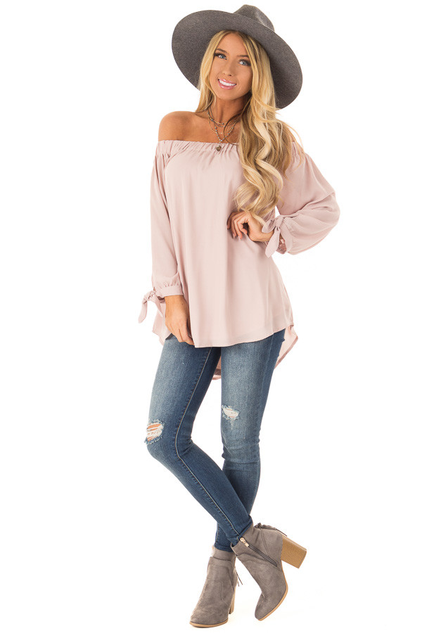 Dusty Blush Off the Shoulder Chiffon Blouse Top front full body