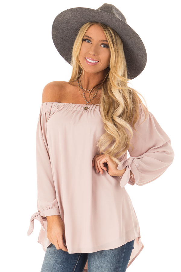 Dusty Blush Off the Shoulder Chiffon Blouse Top front close up