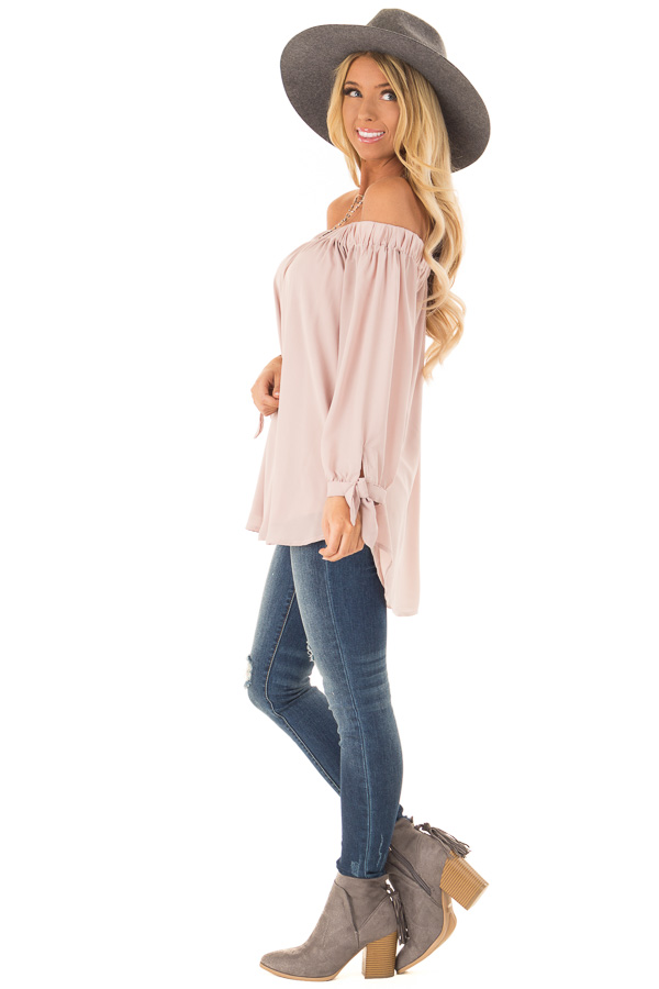 Dusty Blush Off the Shoulder Chiffon Blouse Top side full body