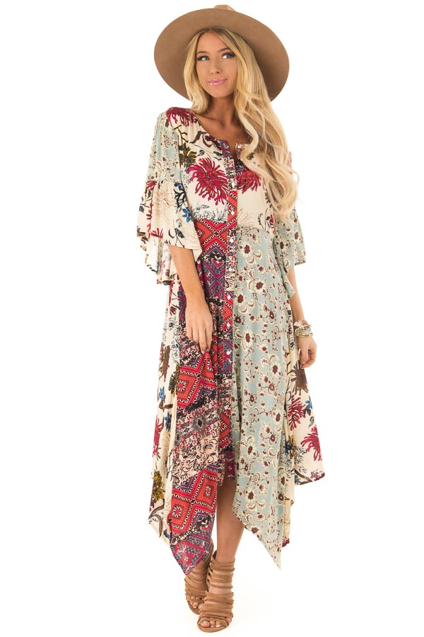 0928f7b554ac72 ... Vanilla Multicolor Floral Bell Sleeve Button Up Maxi Dress front full  body ...