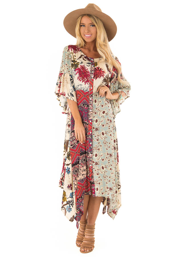 852bfdeaa20eaf Vanilla Multicolor Floral Bell Sleeve Button Up Maxi Dress front full body