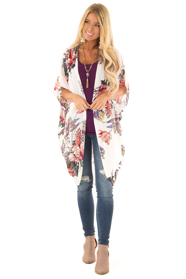 217a086e1 Ivory Floral Kimono with Cocoon Hem and Pleated Shoulders front full body