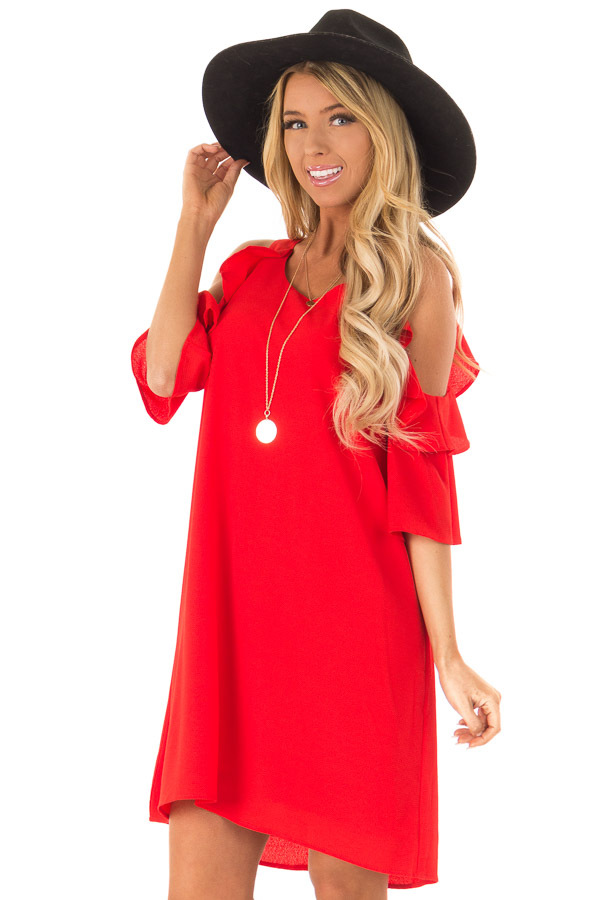 12597cfb2d0 Scarlet Cold Shoulder Dress with Ruffle Detail - Lime Lush Boutique