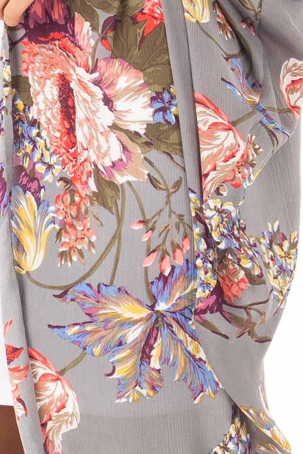 Charcoal Floral Kimono with Cocoon Hem and Pleated Shoulders detail