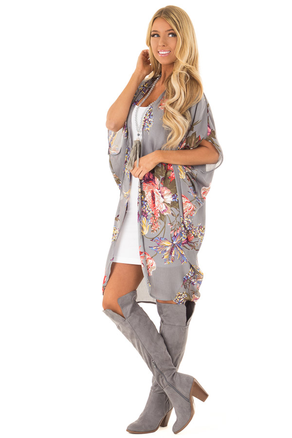 Charcoal Floral Kimono with Cocoon Hem and Pleated Shoulders front full body