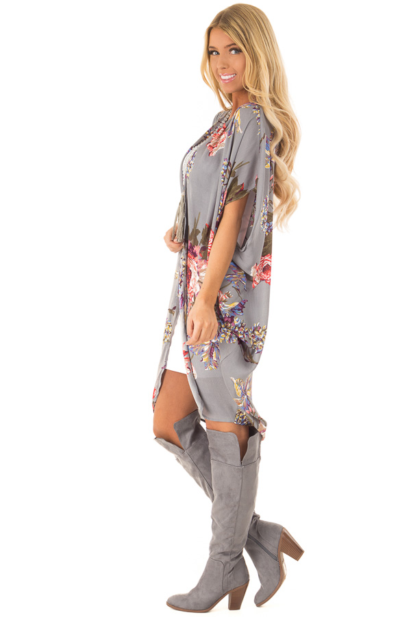 Charcoal Floral Kimono with Cocoon Hem and Pleated Shoulders side full body