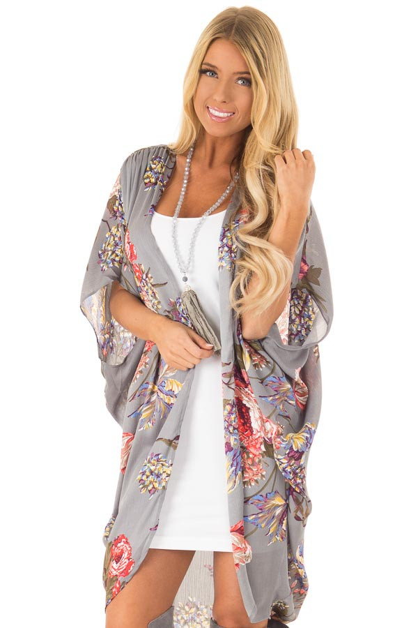 Charcoal Floral Kimono with Cocoon Hem and Pleated Shoulders front close up
