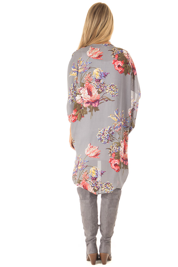 Charcoal Floral Kimono with Cocoon Hem and Pleated Shoulders back full body