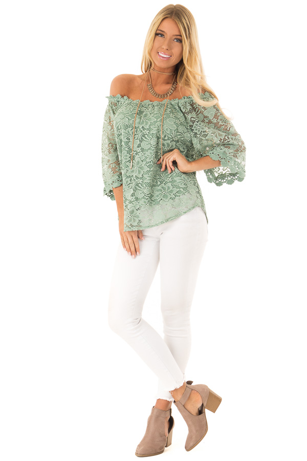 9ad1b7fc8a70 Sage Green Off the Shoulder Top with Sheer Lace Detail front full body ...