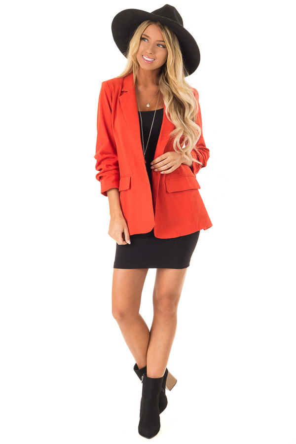 Burnt Orange Ruched 3/4 Sleeve Blazer with Button Closure front full body
