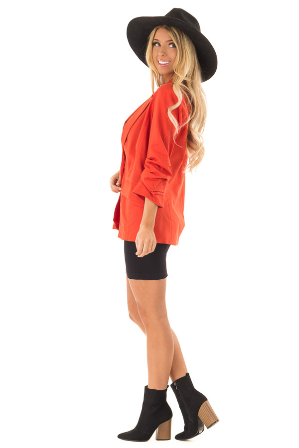 Burnt Orange Ruched 3/4 Sleeve Blazer with Button Closure side full body