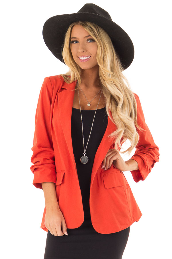 Burnt Orange Ruched 3/4 Sleeve Blazer with Button Closure front close up