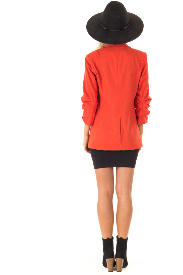 Burnt Orange Ruched 3/4 Sleeve Blazer with Button Closure back full body