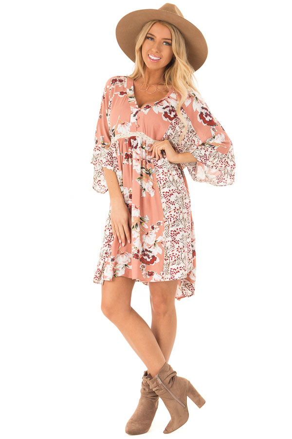 Salmon Multi Floral 3/4 Sleeve Dress with Button Detail front full body