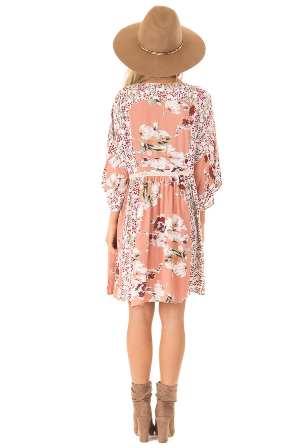 Salmon Multi Floral 3/4 Sleeve Dress with Button Detail back full body
