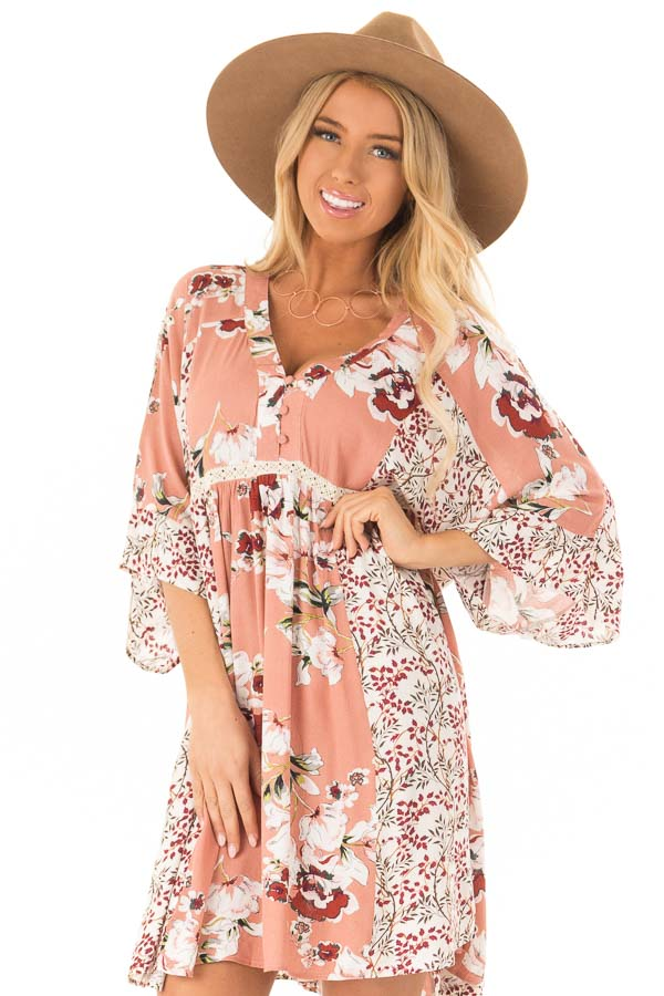 Salmon Multi Floral 3/4 Sleeve Dress with Button Detail front close up