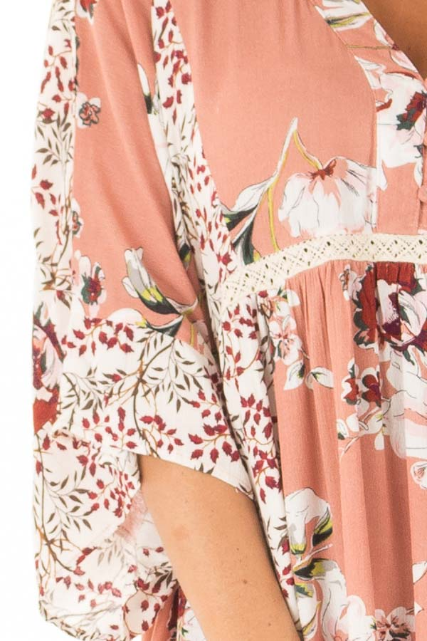 Salmon Multi Floral 3/4 Sleeve Dress with Button Detail detail