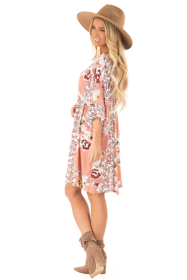 Salmon Multi Floral 3/4 Sleeve Dress with Button Detail side full body