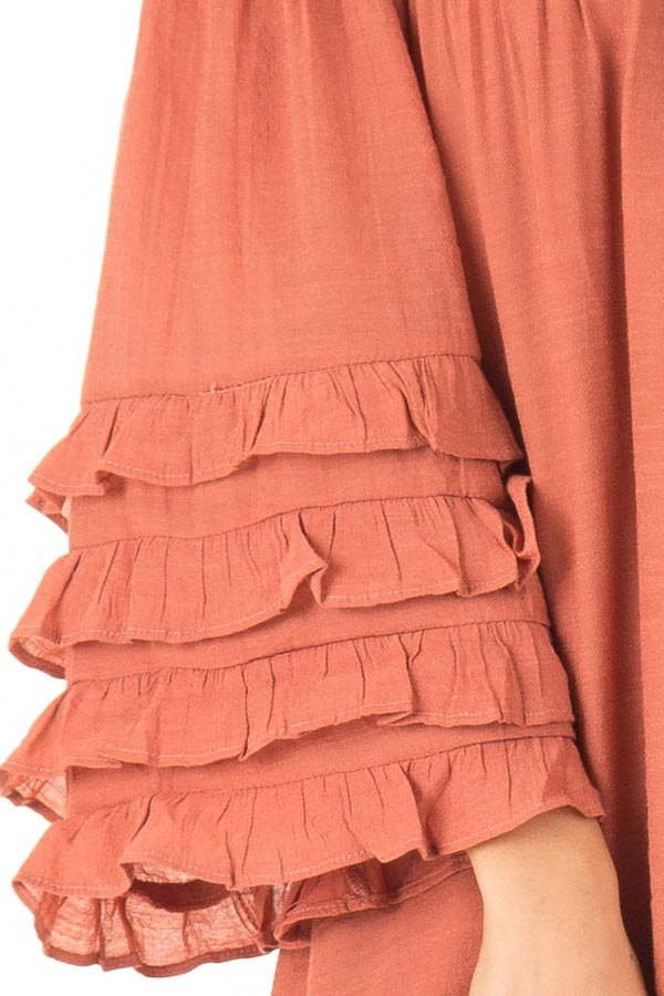 Brick Off the Shoulder Mini Dress with Tiered Ruffle Sleeves detail